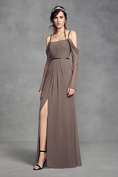 Long Sheath Long Sleeves Dress - White by Vera Wang