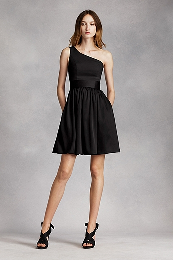 Short One Shoulder Dress with Satin Sash VW361260
