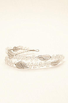 Two Row Crystal Headband with Beaded Leaves VW370010