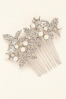 Embellished Leave Comb with Pearls VW370012
