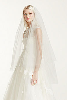 Two-tier Walking Length Veil with Raw Edge VW370025