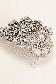 Beaded Crystal Floral Comb VW371538