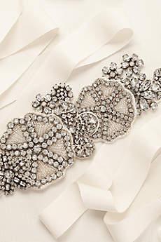 Grosgrain Sash with Crystal and Bead Embellishment