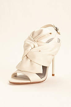 White by Vera Wang Ivory (Satin Bow High Heel Slingback)