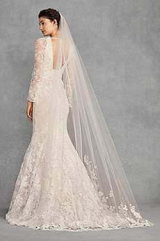 Appliqued Floral Lace Chapel-Length Veil