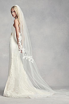 Floral Lace Cinched Cathedral Veil VW37V24