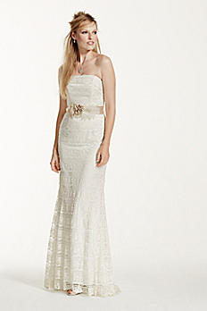 Lace Sheath Wedding Dress with Godet Inserts VW9340