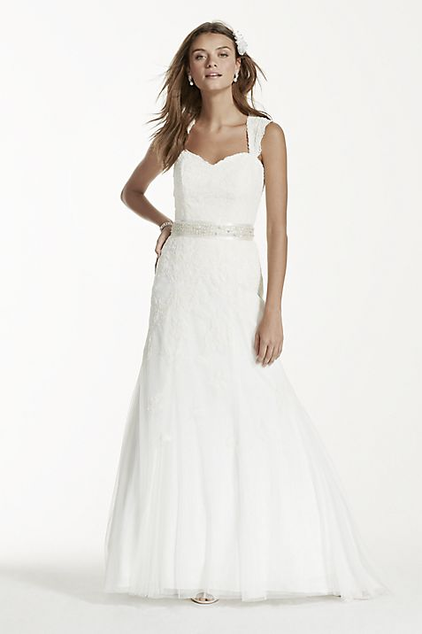Petite Cap Sleeve Wedding Dress with All Over Lace | David\'s Bridal