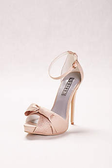 White by Vera Wang Ivory Peep Toe Shoes (Crystal Embellished High Heels with Bow)