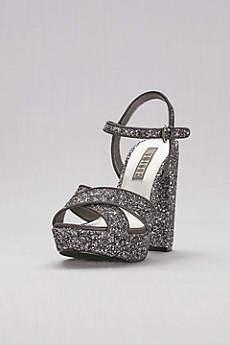 White by Vera Wang Grey Sandals (Crisscross Chunky Glitter Platform Heels)