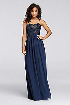 Long Dress with Spaghetti Straps and Beaded Bodice W10154