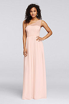 One-Shoulder Long Dress with Beaded Bodice W10155