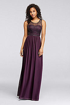 Long Dress with Illusion Sweetheart Beaded Bodice W10156
