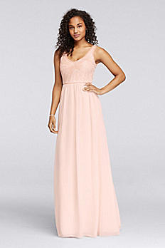 Long Dress with V-Neckline and Beaded Bodice W10162