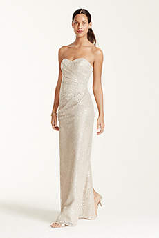 Long Strapless Metallic Lace Dress
