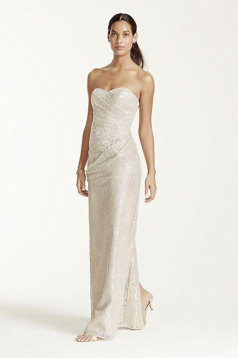 Long Strapless Metallic Lace Dress | David\'s Bridal