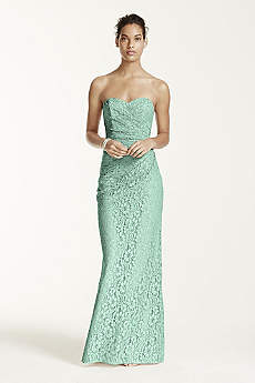 Long Strapless Lace Dress with Sweetheart Neckline