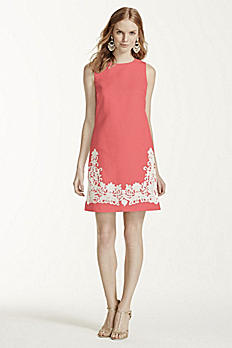 Shift Dress with Lace Appliques W10457