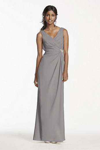 Crepe Sheath Dress with Side Slit and Cowl Back W10628