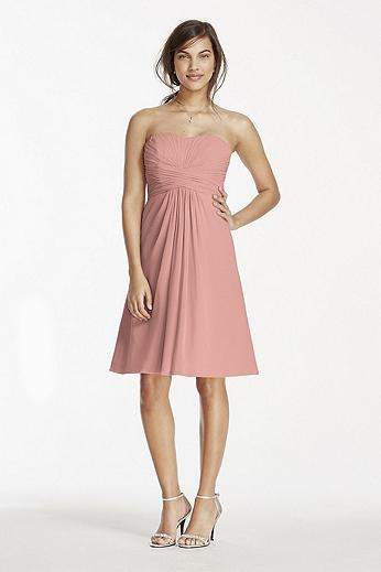 Short Chiffon Dress with Pleated Bodice W10831