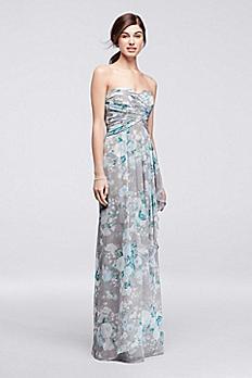 Printed Strapless Crinkle Chiffon Bridesmaid Dress 4XLW10840P