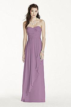 Strapless Crinkle Chiffon Dress with Cascade Skirt W10840