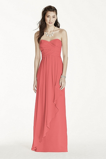 Strapless Crinkle Chiffon Dress with Cascade Skirt W10840