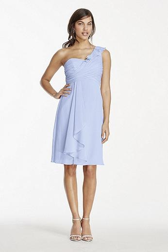 Short One Shoulder Chiffon Dress W10847