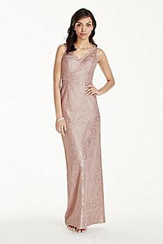 Long Metallic Lace Tank Dress W10855M