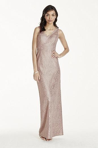 Long Metallic Lace Tank Dress W10855M