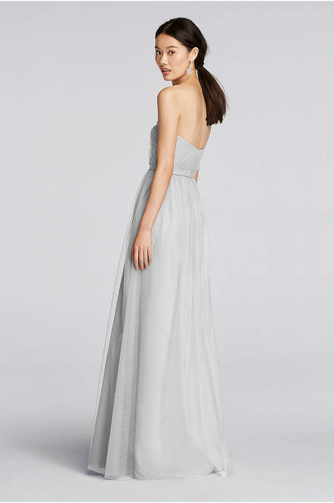 Structured Mikado Strapless Long Bridesmaid Dress Davids
