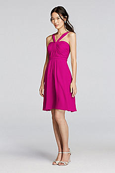 Y-Neck Ruched Bodice Crinkle Chiffon Short Dress W10943