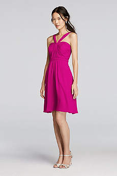 Y-Neck Ruched Bodice Crinkle Chiffon Short Dress