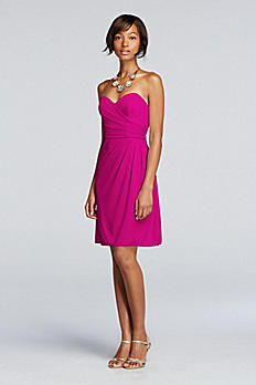 Short Strapless Mesh Dress with Sweetheart Neck W10953