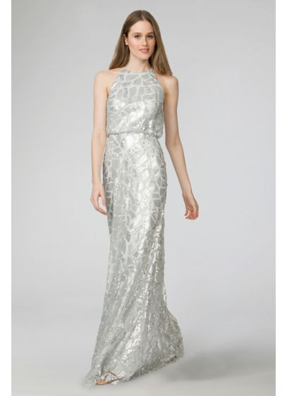 Long Grey Donna Morgan Bridesmaid Dress