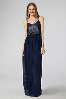 Long Sheath Spaghetti Strap Prom Dress - Donna Morgan