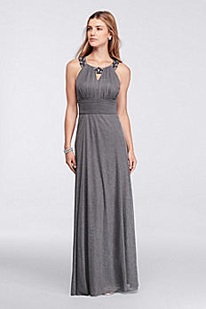 Long Sleeveless Dress with Beaded Keyhole Neckline WBM1023