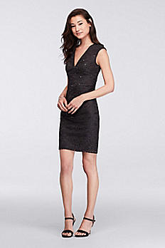 V-Neck Sequin Lace Short Dress with Cap Sleeves WBM1028