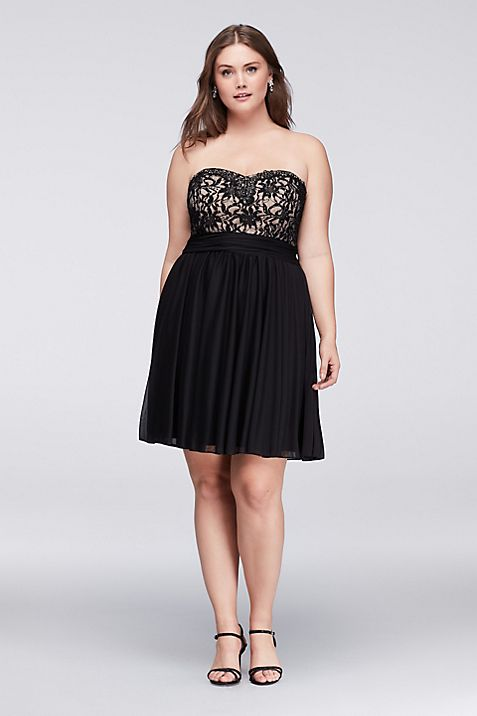 Jeweled Lace and Mesh Strapless Plus Size Dress | David\'s Bridal