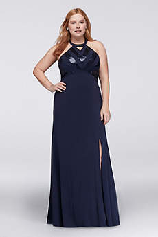 Long A-Line Halter Cocktail and Party Dress - David's Bridal