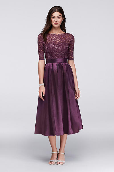 lace and satin elbow sleeve tea length dress wbm1121
