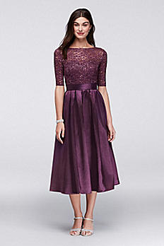 Lace and Satin Elbow-Sleeve Tea Length Dress WBM1121