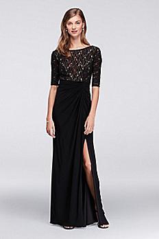 Lace Bodice Dress with Gathered Jersey Skirt WBM1123