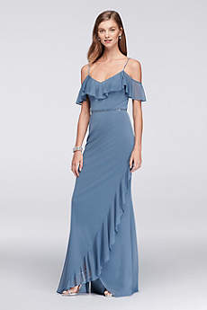 Ruffled Mesh Chiffon Dress with Beaded Straps