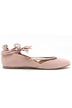 Braided Lace-Up Flats with Tassels WEBB04X