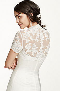 Short Sleeve Tulle Jacket with Lace Embroidery WG109