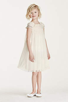Short Sheath Cap Sleeves Communion Dress - David's Bridal