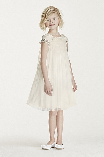 Short Sleeved Empire Tulle Sheath WG1359