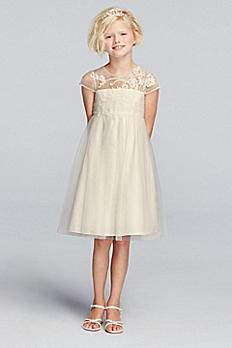 Mesh Flower Girl Dress with Illusion Neckline WG1360