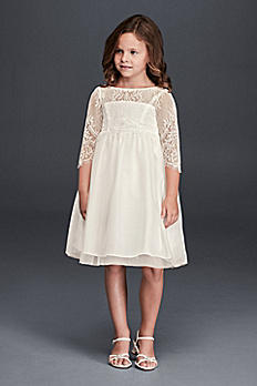 Flower Girl Dress with 3/4 Lace Sleeves WG1367